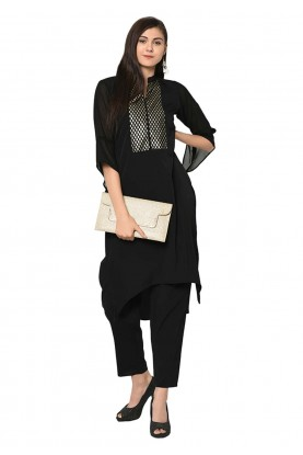Black Colour Crepe Fabric Readymade Kurti.