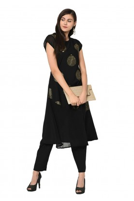 Party Wear Kurti Black Colour.