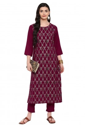 Maroon Colour Weaving Kurti.