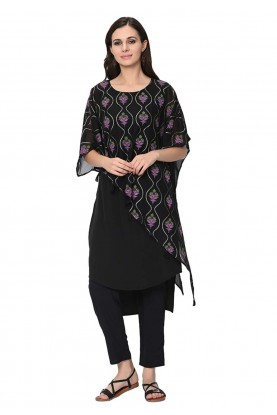 Black Colour Printed Kurti.