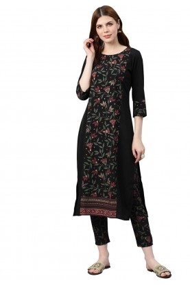 Printed Kurti Black Colour.
