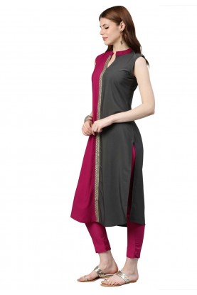 Pink,Grey Colour Casual Kurti.