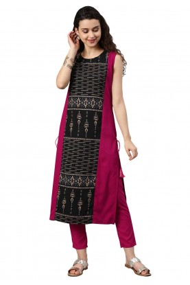 Pink,Black Colour Readymade Kurti.