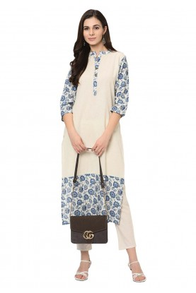 White Colour Crepe Casual Kurti.