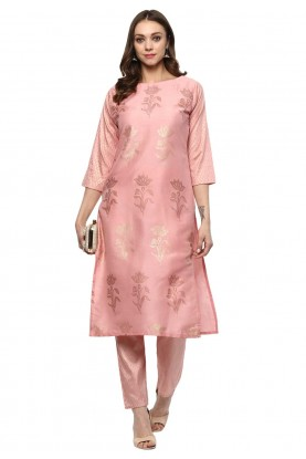 Light Pink Colour Silk Readymade Kurti.