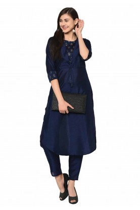 Navy Blue Colour Readymade Kurti.