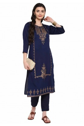 Navy Blue Colour Party Wear Kurti.