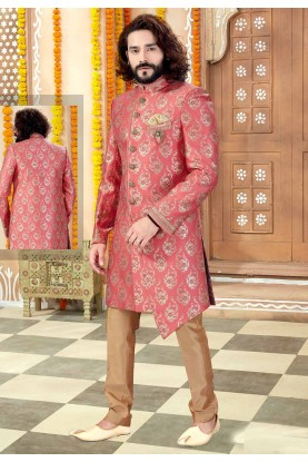 Pink Colour Banarasi Silk Men's Indowestern.