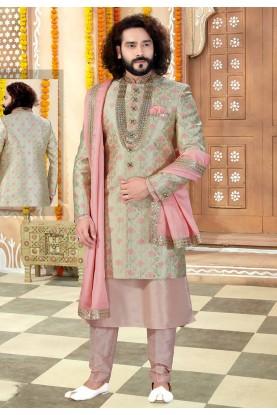 Peach,Pista Green Colour Men's Wedding Sherwani.