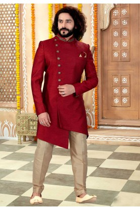 Maroon Colour Jacquard Fabric Engagement Wear For Men.