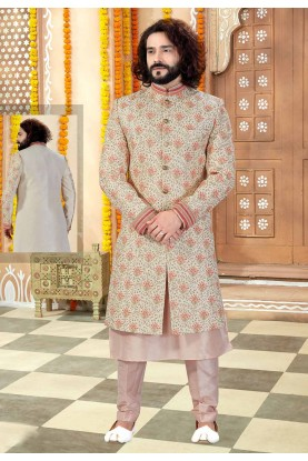 Peach,Cream Colour Indian Wedding Sherwani.
