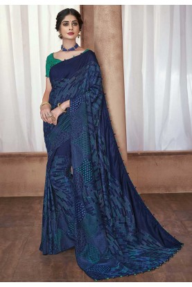 Party Wear Sari Blue Colour.