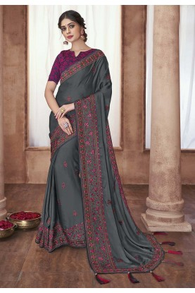 Embroidered Saree Grey Colour.