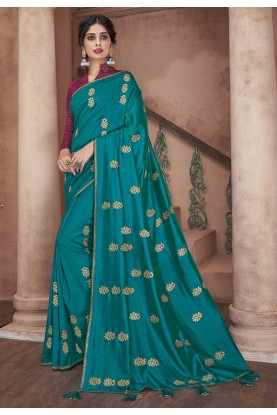 Rama Green Colour Silk Saree.