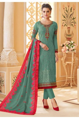 Sea Green Colour Georgette Salwar Kameez.