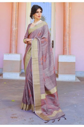 Light Purple Colour Handloom Saree.