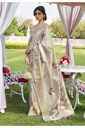 Off White Colour Silk Saree.