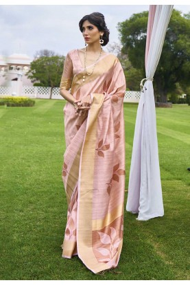 Party Wear Handloom Saree Peach Colour.