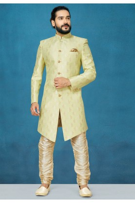 Party Wear Indowestern in Pista Green Colour.