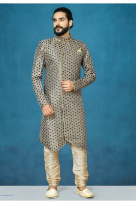 New Style Men's Indowestern in Beige Colour.