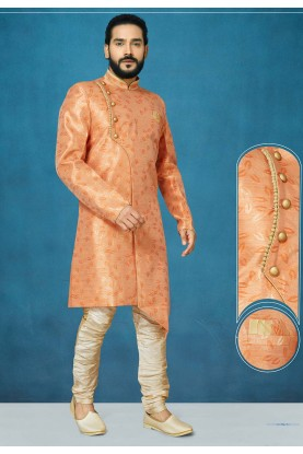 Orange Colour Silk Indowestern.