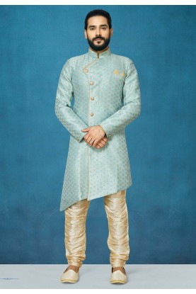 Grey Colour Silk Indowestern For Men.