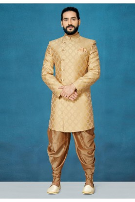 Indian Wedding Indo Sherwani in Golden Colour.