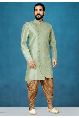 Pista Green Colour Traditional Men's Indowestern.