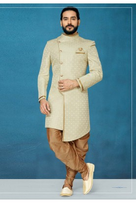 Cream Colour Jacquard Fabric Men's Indowestern.