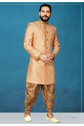 Peach Colour Designer Indowestern For Men.