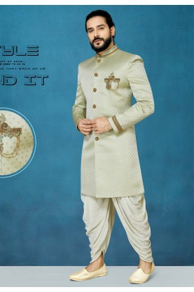 Pista Green Colour Men's Indowestern.
