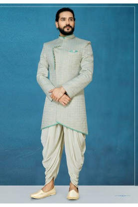 Grey Colour Jacquard Fabric Men's Indowestern.