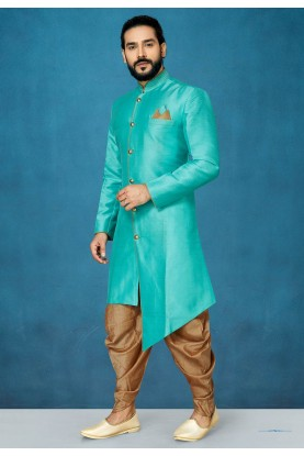 Green Colour Silk Men's Indowestern.