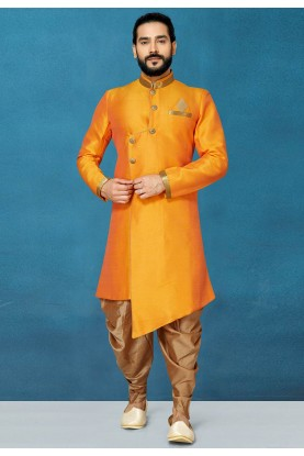 Orange Colour Traditional Men's Indowestern.