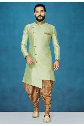Pista Green Colour Indowestern For Men's.