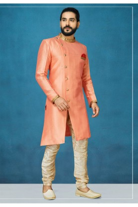 Peach Colour Silk Indowestern.