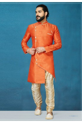 Orange Colour Men's Indowestern.