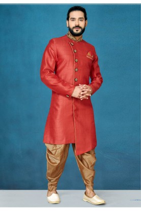 Red Colour Wedding Wear Indowestern.
