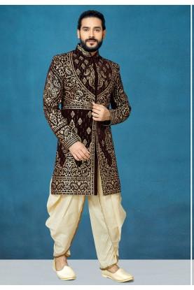 Brown Colour Velvet Fabric Men's Sherwani.