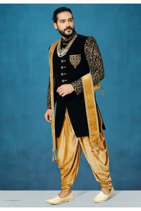 Black Colour Designer Sherwani.