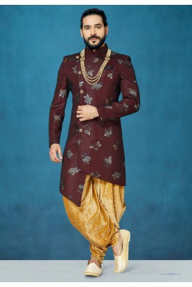 Maroon Colour Designer Indowestern For Men.