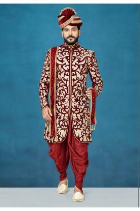 Cream,Maroon Colour Wedding Sherwani.