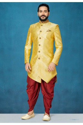 Men's Designer Indowestern in Yellow Colour.