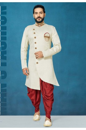 Off White Colour Engagement Indowestern For Men.