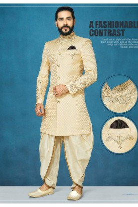 Cream Colour Indian Wedding Indo Sherwani.