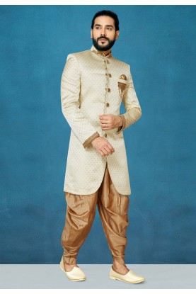 Men,s Designer Indowestern in Cream Colour.