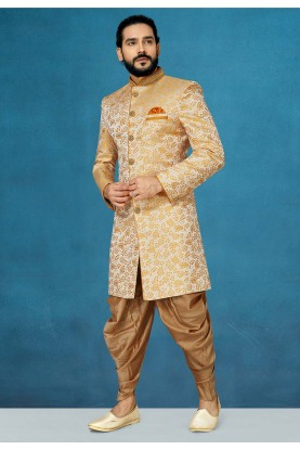 Orange Colour Jacquard Indowestern For Men.