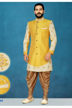 Yellow Colour Stylish Designer Indowestern.