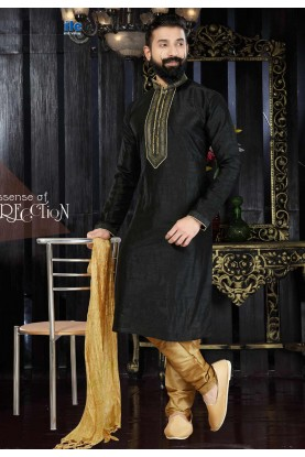 Dupion Art Silk & Black Color Readymade Kurta For Men's