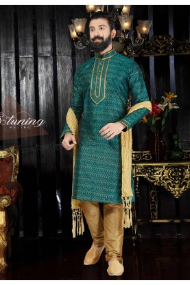 Green Color & Dupion Art Silk Readymade Kurta For Men's